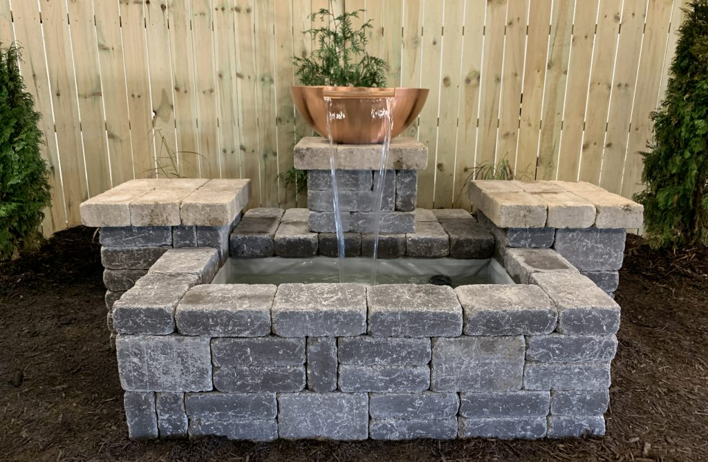 """Copper Spillway Bowl hardscape water feature built from the 26"""" Copper Spillway Bowl Project Bundle"""