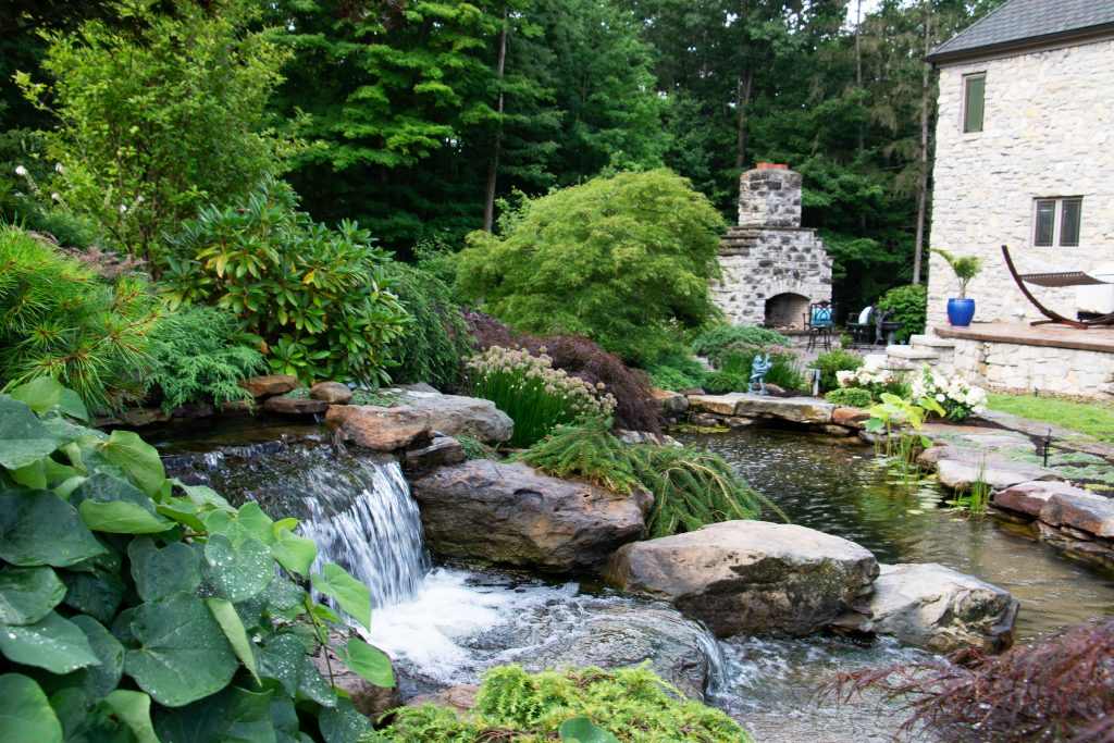 Pond and waterfall by Bulone Brothers Landscaping