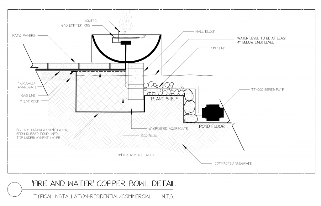 Fire and water Copper Fountain Bowl design drawing
