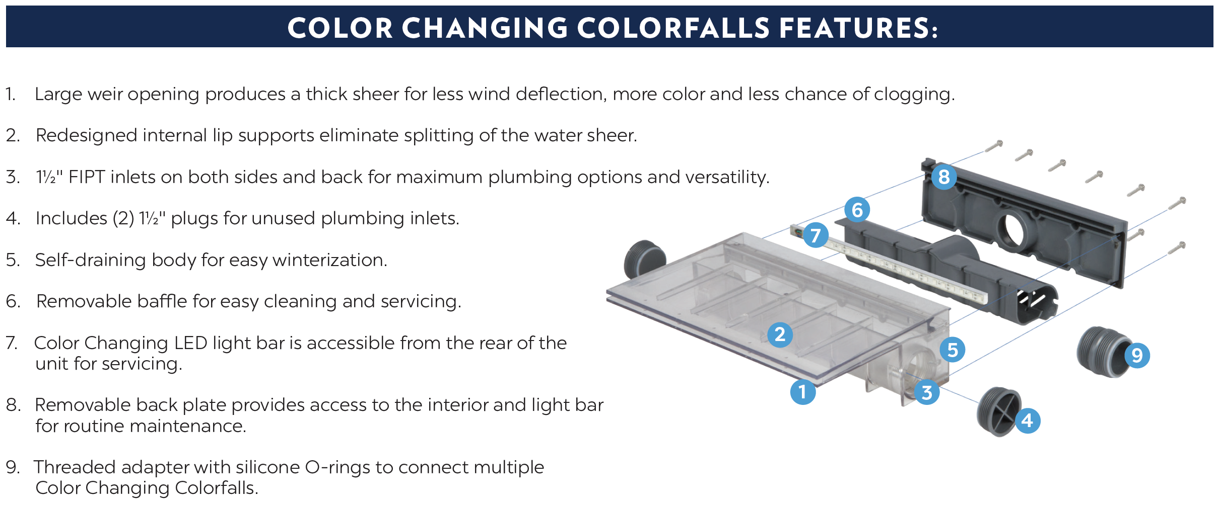 Color Changing Colorfalls Atlantic Water Gardens Series Parallel Wiring On Electrical Multiple Outlets Pro Fountain Basin Features